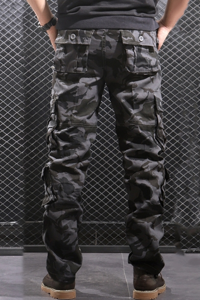 Mens Popular Camouflage Pattern Side Pocket Straight Fit Military Pants