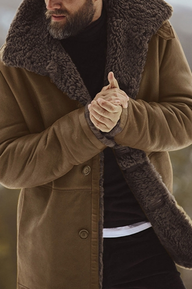 Mens Warm Solid Color Long Sleeve Button Down Faux Fur Lined Winter Coat Jacket