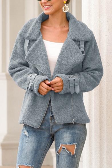 Plain Fashion Long Sleeve Notch Collar Zipper Buckle Detail Fitted Fluffy Teddy Jacket for Ladies, Burgundy;gray;khaki;army green;caramel, LM580101