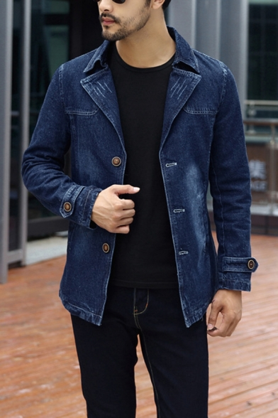 Simple Plain Long Sleeve Notched Collar Single Breasted Slim Fit Denim Jacket Trench Coat
