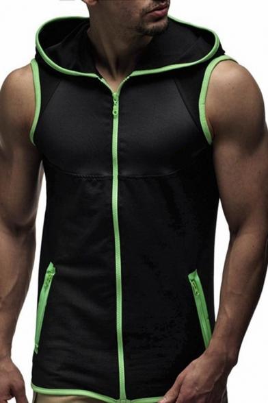Sport Fashion Contrast Trim Zip Placket Slim Fit Hooded Vest Hoodie for Men