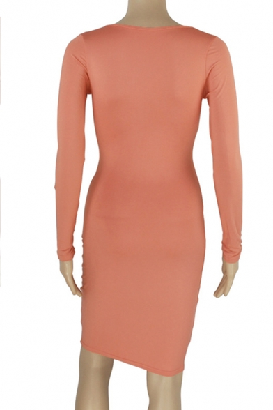 Womens Sexy Plain Cross Cutout Front V-Neck Long Sleeve Midi Bodycon Cocktail Party Dress