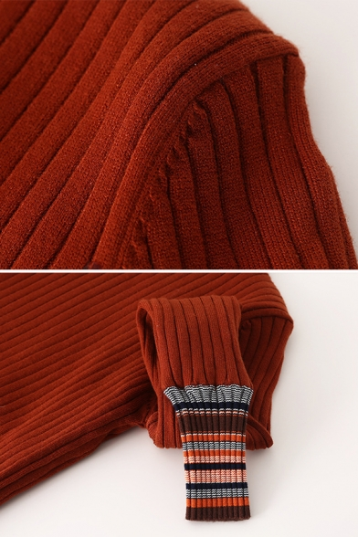 Womens Stylish High Collar Striped Cuffs Long Sleeve Ribbed Knit Slim Fit Winter Sweater