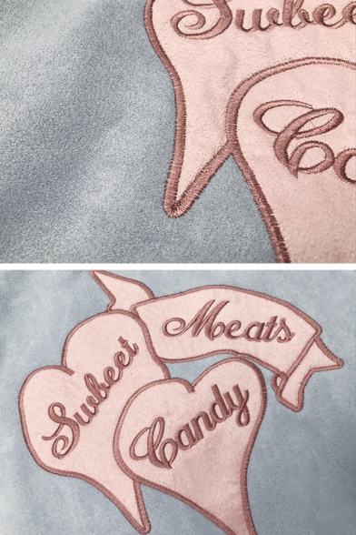 Blue Casual Balloon Sleeve Zipper Front Letter SULEET MEATS CANDY Graphic Velvet Baggy Jacket for Girls