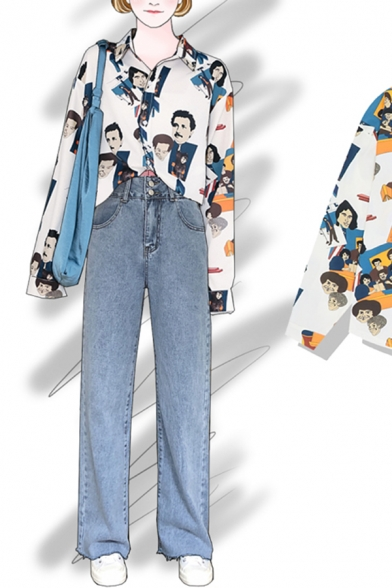 Chic Street Girls' Long Sleeve Notch Collar Button Down All Over Cartoon Character Print Relaxed Shirt in White