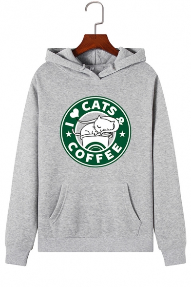 Creative CAT COFFEE Letter Print Long Sleeve Kangaroo Pocket Graphic Pullover Hoodie