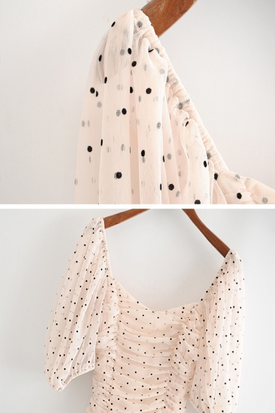 Cute Fancy Girls' Puff Sleeve V-Neck Polka Dot Print Ruched Mesh Fitted Short Dress in Apricot