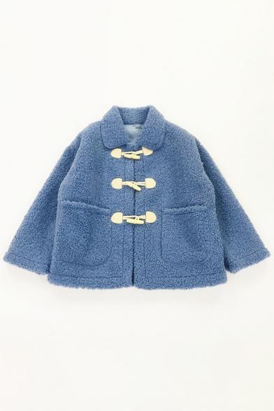 Cute Kawaii Girls' Bell Sleeve Lapel Collar Horn Button Down Pockets Side Plain Fluffy Thick Oversize Jacket