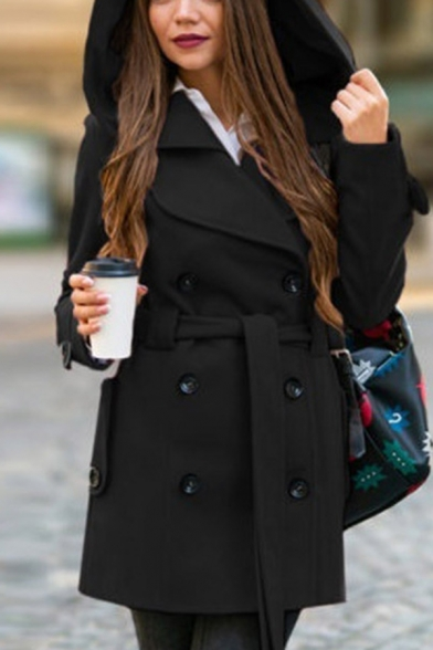 Elegant Girls' Long Sleeve Hooded Double Breasted Tied Waist Midi Plain Fitted Coat