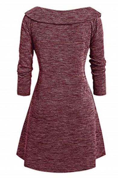 Elegant Ladies' Long Sleeve Surplice Neck Plain Mid Wrap Pleated A-Line Dress