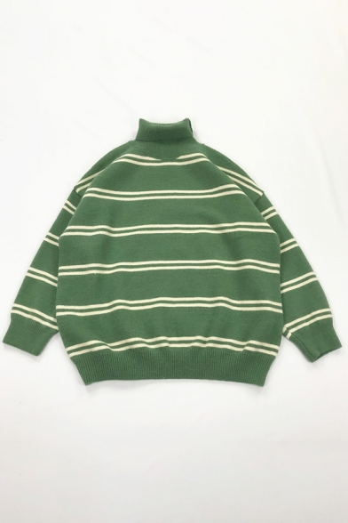 Exclusive Striped Pattern Turtle Neck Long Sleeve Baggy Knitted Boyfriend Sweater