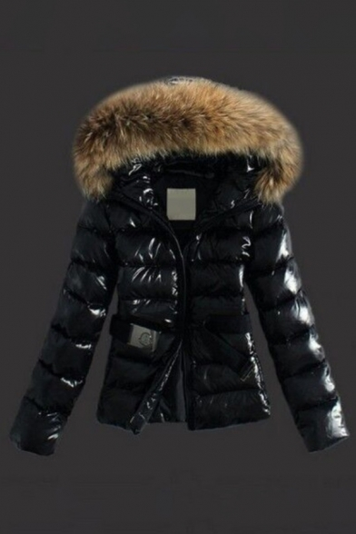 Fashion Street Long Sleeve Hooded Belted Fluffy Trim Fitted Plain Puffer Coat for Ladies