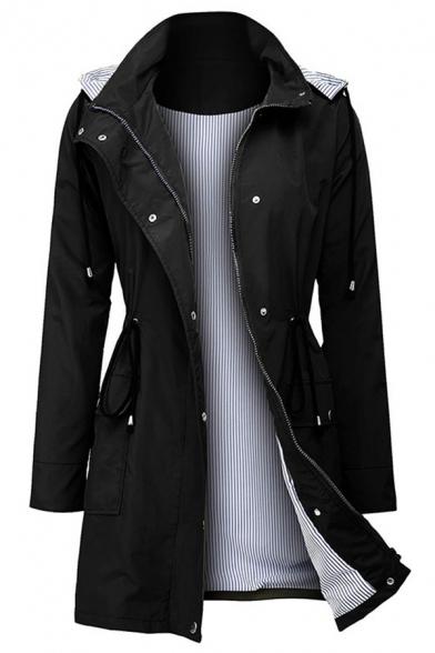 Fashion Street Women' Long Sleeve Hooded Zipper Button Down Drawstring Stripe Liner Loose Mid Plain Trench Coat, Black;green;navy, LM579294