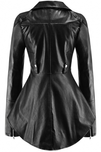 Female Trendy Cool Long Sleeve Notch Collar Zipper Decoration Curved Hem Leather Jacket In Black