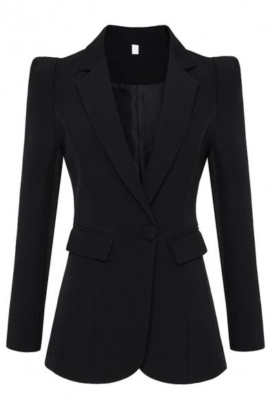Formal Women's Long Sleeve Notch Lapel Collar Button Front Flap Pockets Slim Fit Blazer in Black