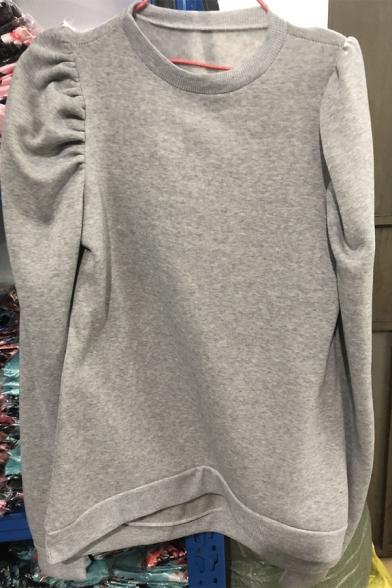 Grey Stylish Puff Sleeve Crew Neck Oversize Pullover Sweatshirt for Ladies