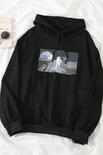 Hot Popular Spaceman on the Moon Pattern Long Sleeve Relaxed Boyfriend Hoodie, Black;gray, LC583376