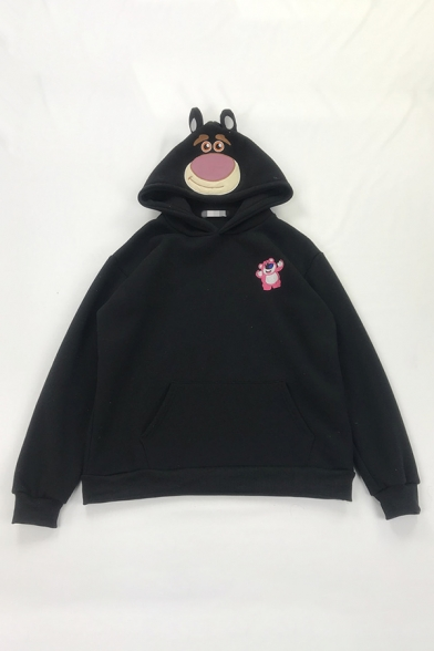 Lovely Bear Embroidery Long Sleeve Pouch Pocket Oversized Pullover Hoodie, Black;pink;red;yellow, LM577996