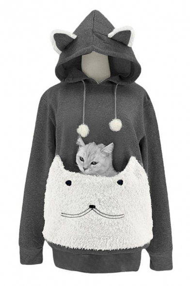 Lovely Cat Ear Drawstring Hood Long Sleeve Fuzzy Patched Pet Pocket Carrier Hoodie, Pink;dark gray;light gray, LC582379