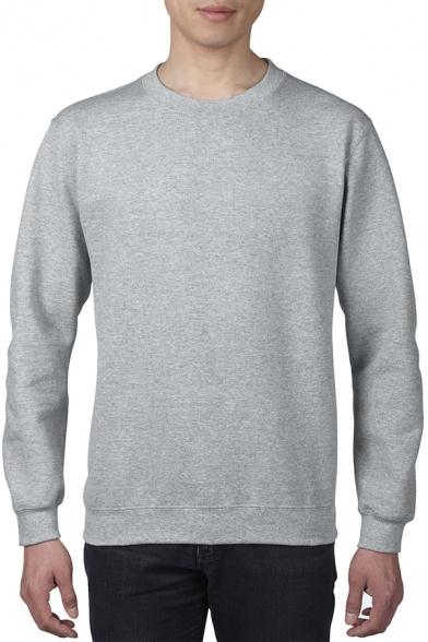 Men's Stylish Plain Long Sleeves Crewneck Loose Fit Pullover Sweatshirt