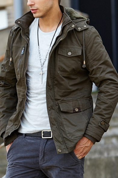 Mens Outdoor Fashionable Plain Long Sleeve Zip Front Thick Hooded Jacket