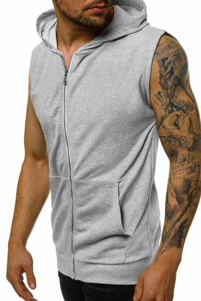 Mens Popular Solid Color Full Zip Sleeveless Hoodie with Pocket