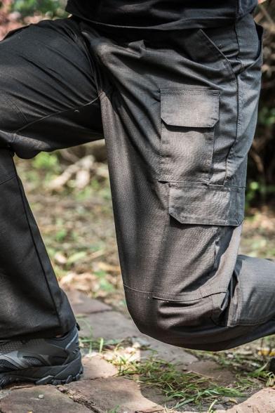 Mens Popular Solid Color Multi Pockets Wide Leg Pants Cargo Pants