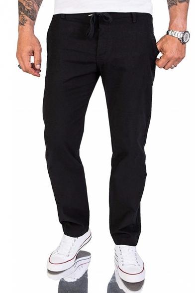 Mens Simple Plain Drawstring Waist Flap Pocket Back Relaxed Fit Casual Linen Pants