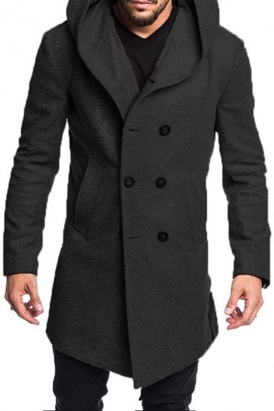 Mens Simple Plain Long Sleeve Double Breasted Woolen Coat Longline Hooded Peacoat