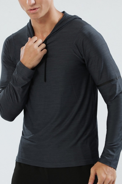 Sport Fashion Plain Striped Long Sleeves Quick Drying Pullover Hoodie