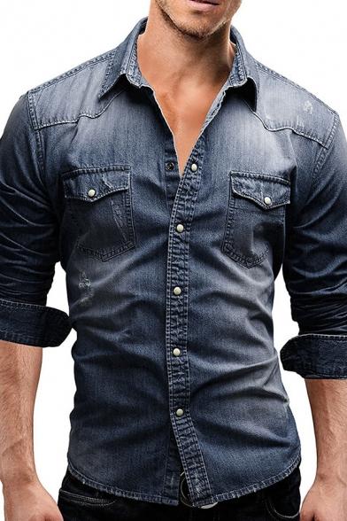 Vintage Style Plain Long Sleeve Button Up Slim  Fit Wash Faded Denim Shirt for Men