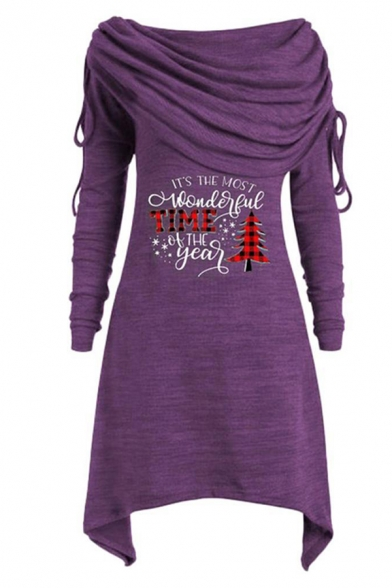 Women's Fashion Christmas Long Sleeve Cowl Neck Drawstring Letter IT'S THE MOST WONDERFUL TIME OF THE YEAR Tree Printed Mid A-Line Dress