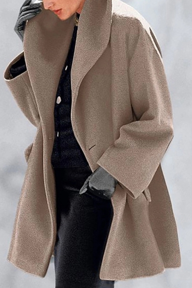 Autumn Warm Classic Long Sleeve Turn Down Collar Button Down Pocket Side Plain Loose Wool Coat for Women