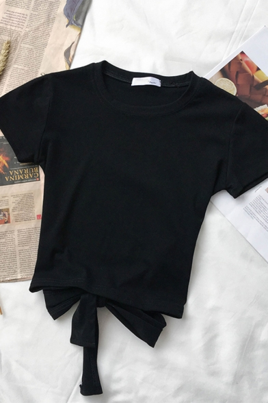 Basic Plain Short Sleeve Crew Neck Bow Tie Slim Fit Tee for Ladies, Black;green;orange;white, LM583682