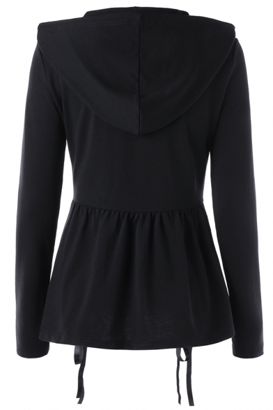 Black Cool Long Sleeve Hooded Drawstring Lace Up Zipper Front Ruched Slim Fit Sweatshirt Jacket for Girls