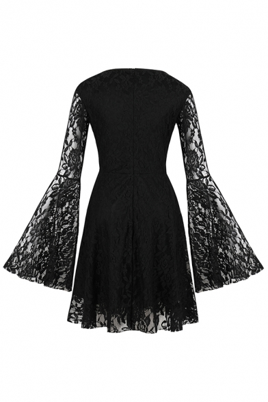 Cool Dark Girls' Bell Sleeve Round Neck Zipper Back See Through Lace Midi Pleated A-Line Dress in Black