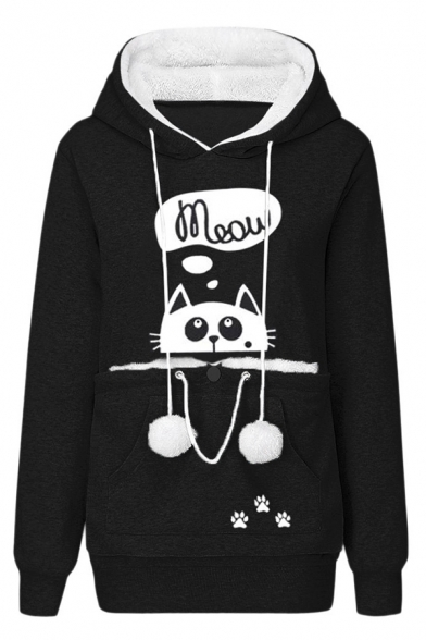 Cute Cat Letter MEOW Printed Long Sleeve Pouch Pocket Pet Lovers Thick Hoodie