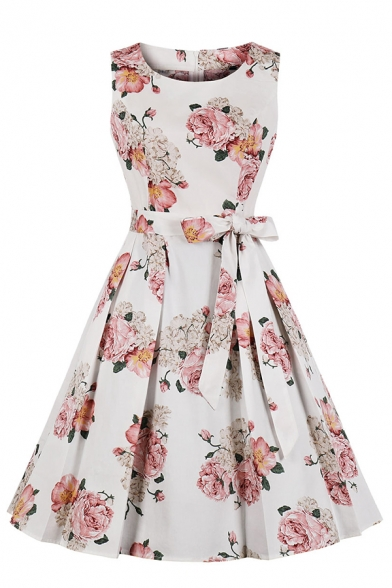 Elegant Ladies' White Sleeveless Zipper Back Floral Printed Bow Tie Waist Mid Pleated Flared Dress