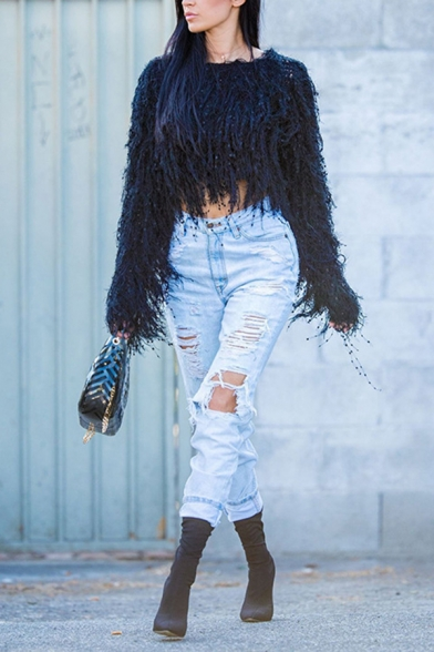 Fashion Shaggy Long Sleeve Round Neck Fringe Sequined Plain Crop Baggy Knitted Sweater for Girls, Black;white, LM576253