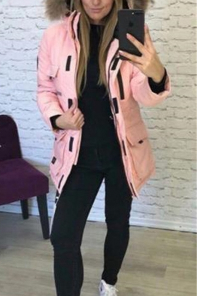 Fashion Street Long Sleeve Hooded Zipper Front Utility Pockets Fluffy Patched Plain Loose Fit Midi Parka Coat for Girls