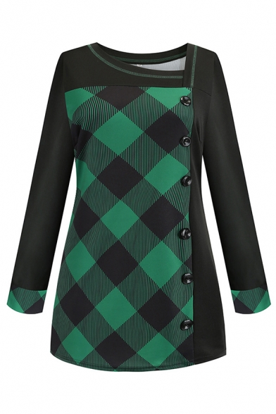 Female Casual Green Long Sleeve Asymmetric Neck Plaid Pattern Button Front Loose Long T-Shirt