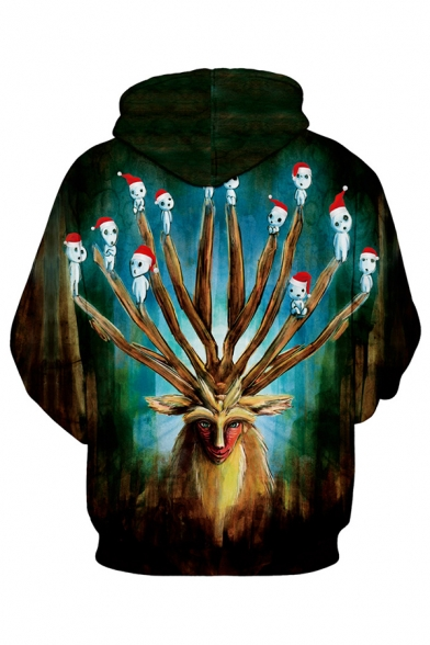 Funny Christmas Elk and Ghost 3D Pattern Long Sleeve Black and Green Drawstring Hoodie