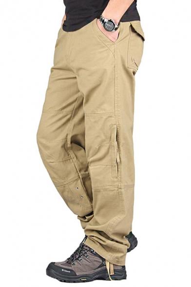 Mens New Trendy Plain Zip Fly Multi Pockets Straight Fit Boxy Cargo Pants