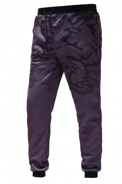 Mens Sport Fashion Camouflage Ombre Printed Drawstring Waist Leisure Pants