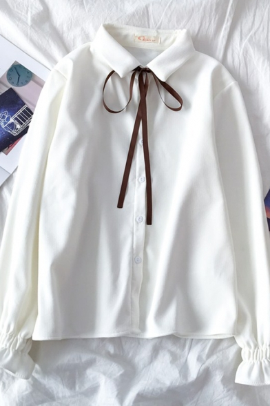 Preppy Girls' Long Sleeve Lapel Neck Bow Tie Ruffle Trim Button Down Sherpa Liner Relaxed Plain Shirt