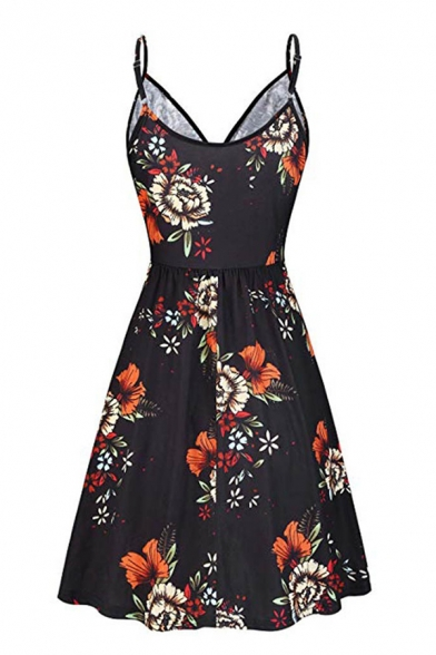 Pretty Girls' Sleeveless Surplice Neck All Over Floral Print Mid Pleated A-Line Cami Dress
