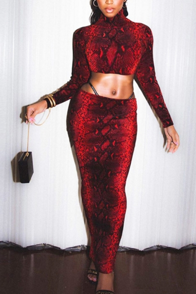 Sexy Red Snakeskin Pattern High Neck Long Sleeve Crop Top Maxi Tight Skirt Skinny Co-ords, LM574598