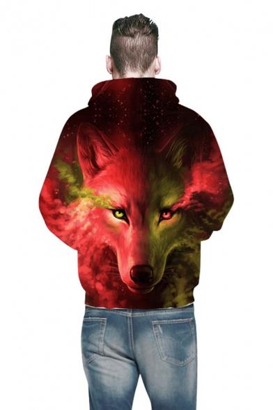 Unisex Creative Wolf 3D Pattern Long Sleeves Color-Block Pullover Hoodie