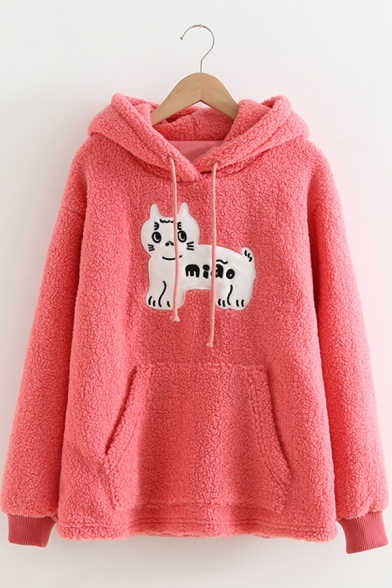 Warm Cartoon Cat Pattern Pink Long Sleeve Pouch Pocket Fuzzy Teddy Drawstring Hoodie, LC578774