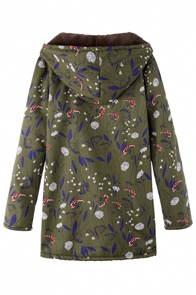 Winter Thick Long Sleeve Hooded Zip Up Floral Pattern Sherpa Liner Loose Fit Midi Coat for Women